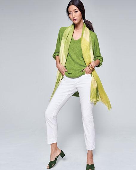 3/4-Sleeve Slub Knit V-Neck Top, Petite