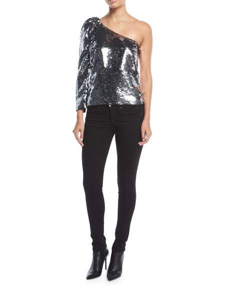 Lantana One-Shoulder Sequin Top