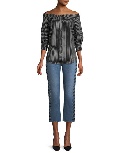 Ines Straight-Leg Girlfriend-Style Jeans with Lace-Up Sides and Matching Items