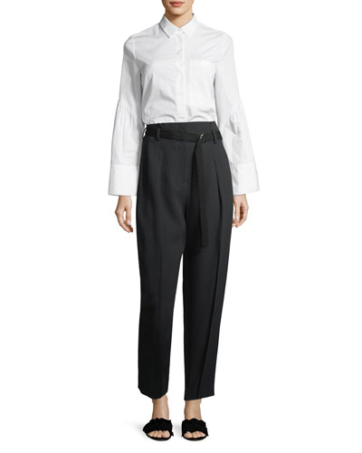 Long-Sleeve Button-Front Asymmetric Poplin Top and Matching Items