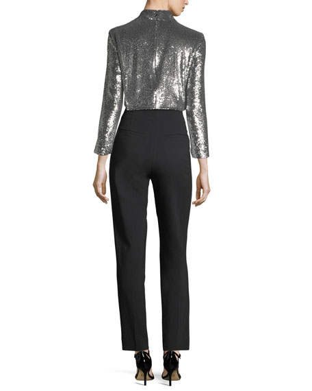 Keegan Mock-Neck Long-Sleeve Sequined Crop Top