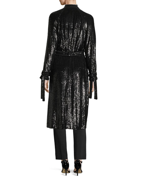 Holloway Open-Front Tie-Cuffs Belted Sequined Coat