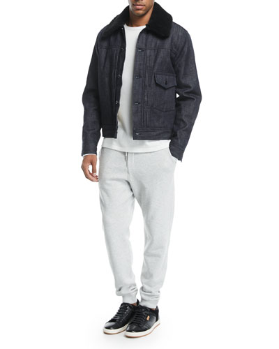 Bartack Denim Jacket with Shearling Collar and Matching Items