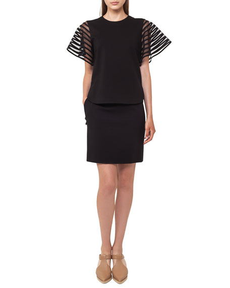 Striped Tulle Wing-Sleeve Top