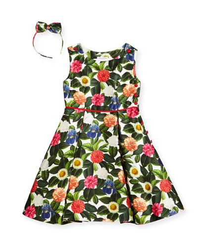Mikado Flower Jungle Dress w/ Buttons & Pleats, Size 2-14 and Matching Items