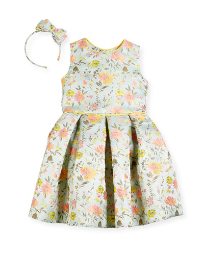 Girls' Jacquard Peony Bow Headband  and Matching Items