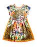 Maiolica & Cheetah Print Cotton Dress, Size 4-6