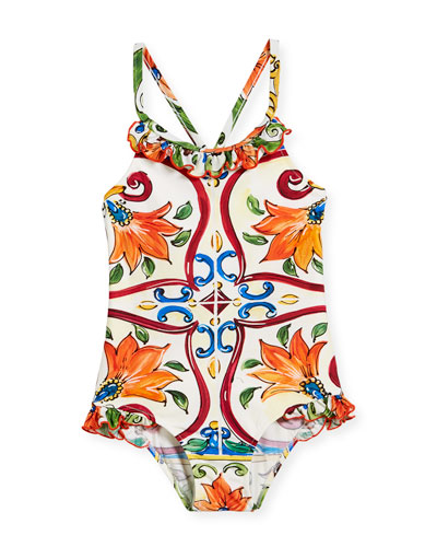 Maiolica-Print Ruffle One-Piece Swimsuit, Size 2-6  and Matching Items