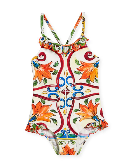 Maiolica-Print Ruffle One-Piece Swimsuit, Size 2-6