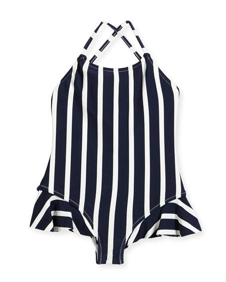 Striped One-Piece Swimsuit w/ Ruffle Trim, Size 4-7