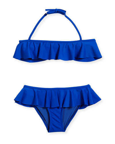 Ruffle Two-Piece Swimsuit, Cobalt, Size 8-14  and Matching Items