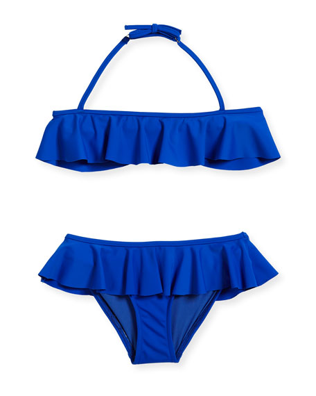 Ruffle Two-Piece Swimsuit, Cobalt, Size 4-7