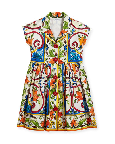 Maiolica-Print Poplin Dress, Size 2-6 and Matching Items