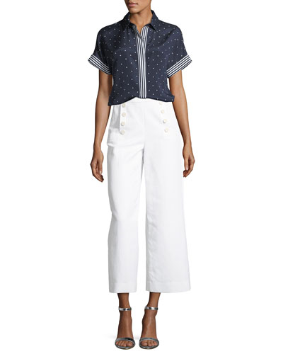 Dot-Print Short-Sleeve Crepe de Chine Blouse and Matching Items
