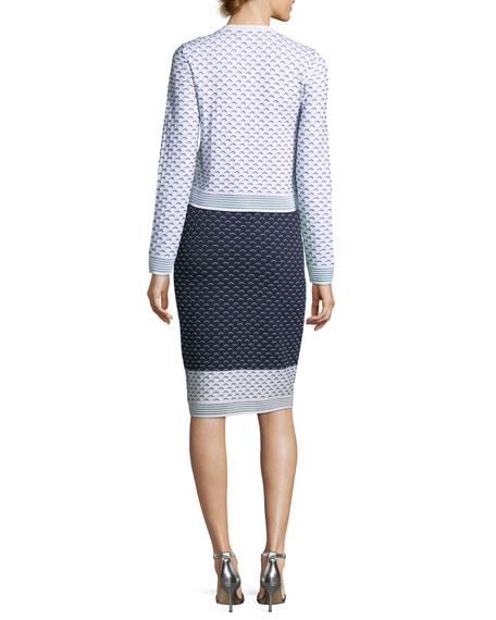 Graphic Ripple-Stitch Knit Cardigan