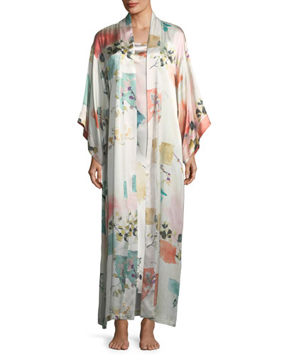 Watercolor Print Sleeveless Silk Nightgown and Matching Items