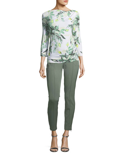 Leaf-Print Asymmetric Top and Matching Items