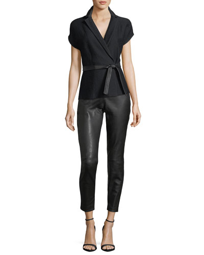 Stretch Leather Cropped Leggings and Matching Items