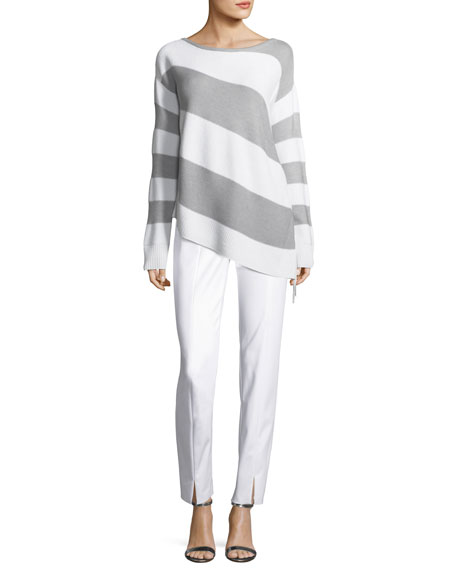 Striped Link-Textured Asymmetric Sweater