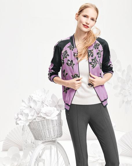 Falling Flower-Print Bomber Jacket