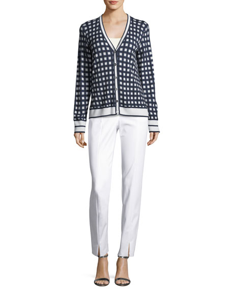 Gingham-Knit Long-Sleeve Cardigan