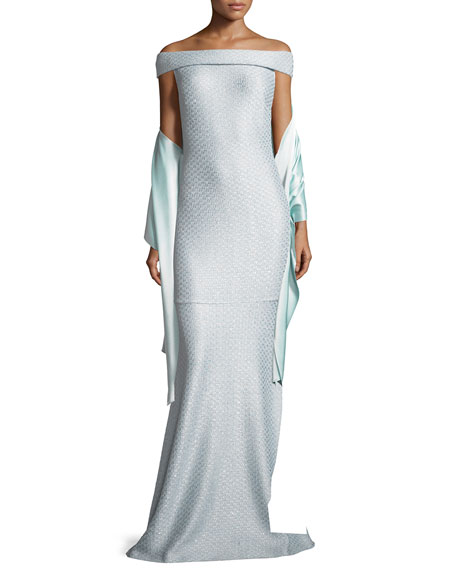 Hansh Off-the-Shoulder Knit Gown