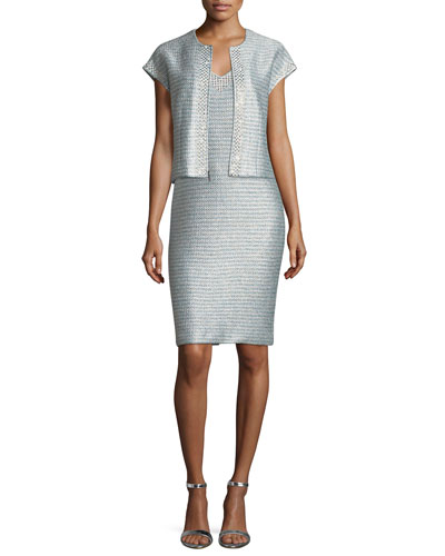 Gleam Metallic Knit V-Neck Cocktail Dress and Matching Items