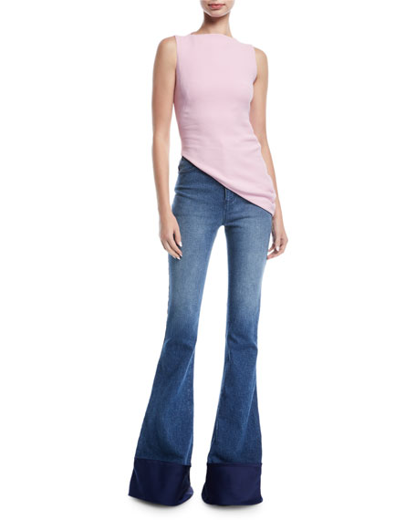 Sleeveless High-Neck Asymmetric-Hem Crepe Top