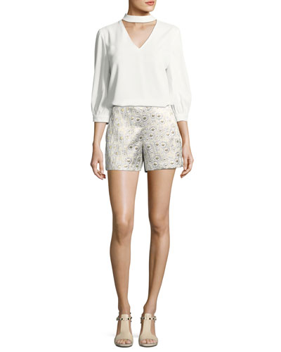 Metallic Daisy Jacquard Shorts and Matching Items