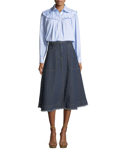 High-Waist A-Line Midi Denim Skirt and Matching Items
