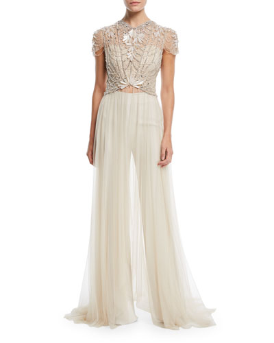 Cap-Sleeve Crystal-Beaded Top with Long Tulle Skirt and Matching Items