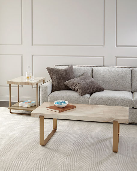 Samer Travertine-Top Coffee Table