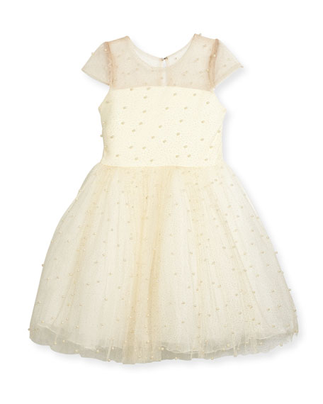 Maisie Mesh Tulle Party Dress w/ Pearly Beads, Ivory, Size 2-6X