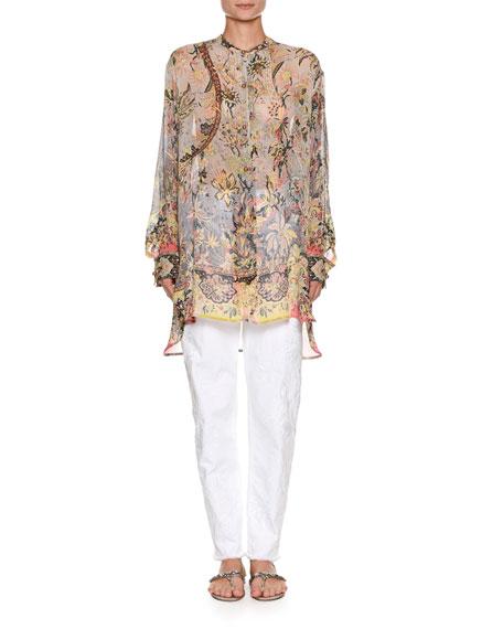 Sheer Oversized Printed Silk Tunic