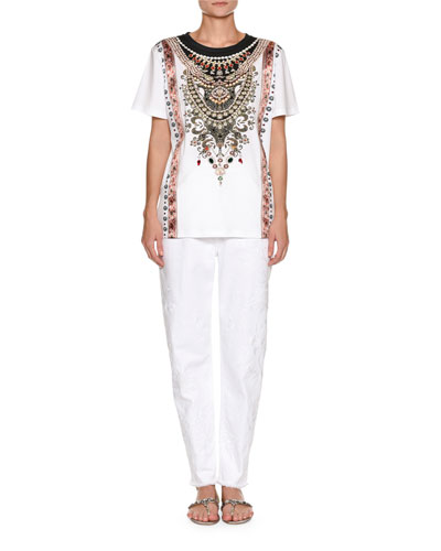 High-Waist Straight-Leg Denim with Sequin Embroidery  and Matching Items