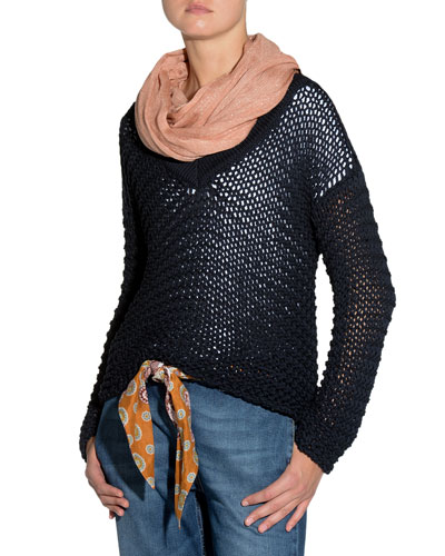 Fringed-Trim Metallic-Knit Scarf and Matching Items