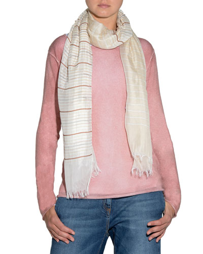 Striped Fringed-End Scarf and Matching Items