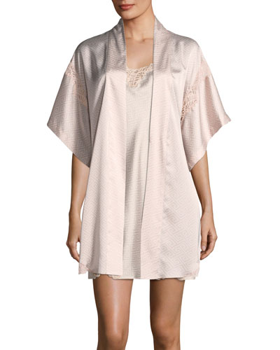 Labyrinth-Print Short Satin Robe and Matching Items