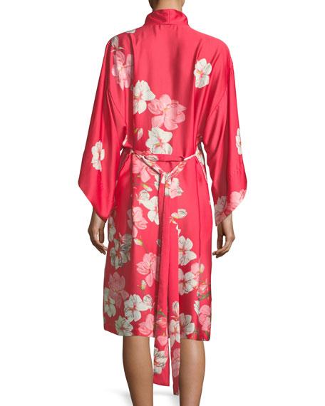 Magnolia Print Satin Long Robe