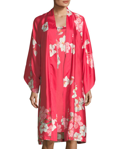 Magnolia Print Satin Long Robe and Matching Items