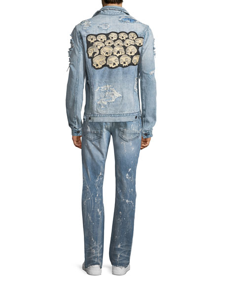 Distressed Denim Jacket with Skulls Applique