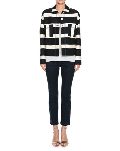 Block-Stripe Sateen Crop Jacket w/ Topstitching  and Matching Items
