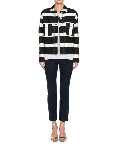 Block-Stripe Sateen Crop Jacket w/ Topstitching
