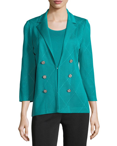 3-Button Diamond Jacquard Knit Jacket  and Matching Items