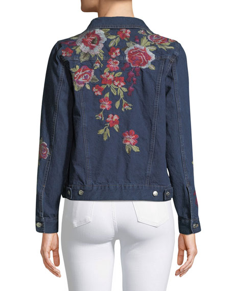 Desi Floral-Embroidered Denim Jacket, Petite