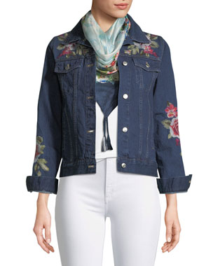 ebf437d5380d9 Johnny Was Plus Size Desi Floral-Embroidered Denim Jacket
