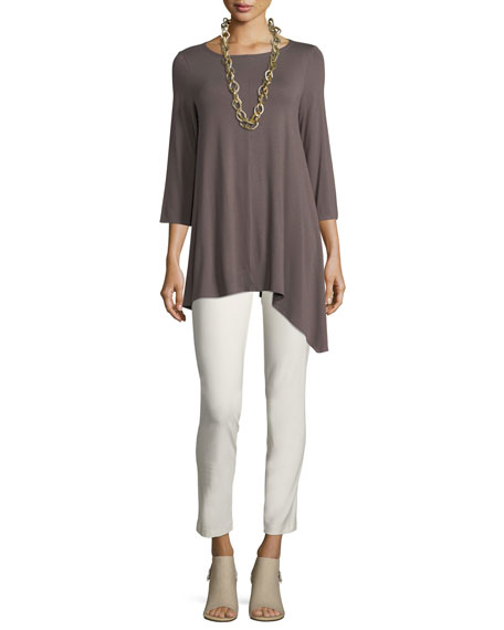 Asymmetric Lightweight Jersey Long Top, Plus Size
