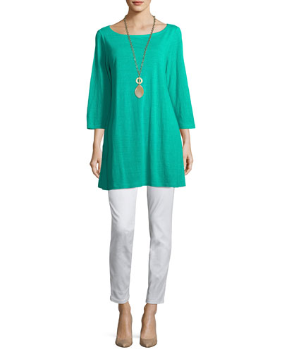 3/4-Sleeve Organic Linen Jersey Tunic  and Matching Items