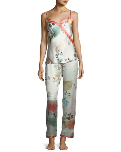 Watercolor Floral-Print Silk Camisole and Matching Items