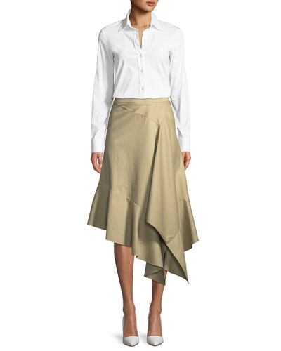 Spicy Asymmetric Draped Poplin Midi Skirt and Matching Items
